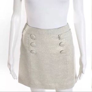 J Crew Metallic Ivory Wool Short Button Skirt 2